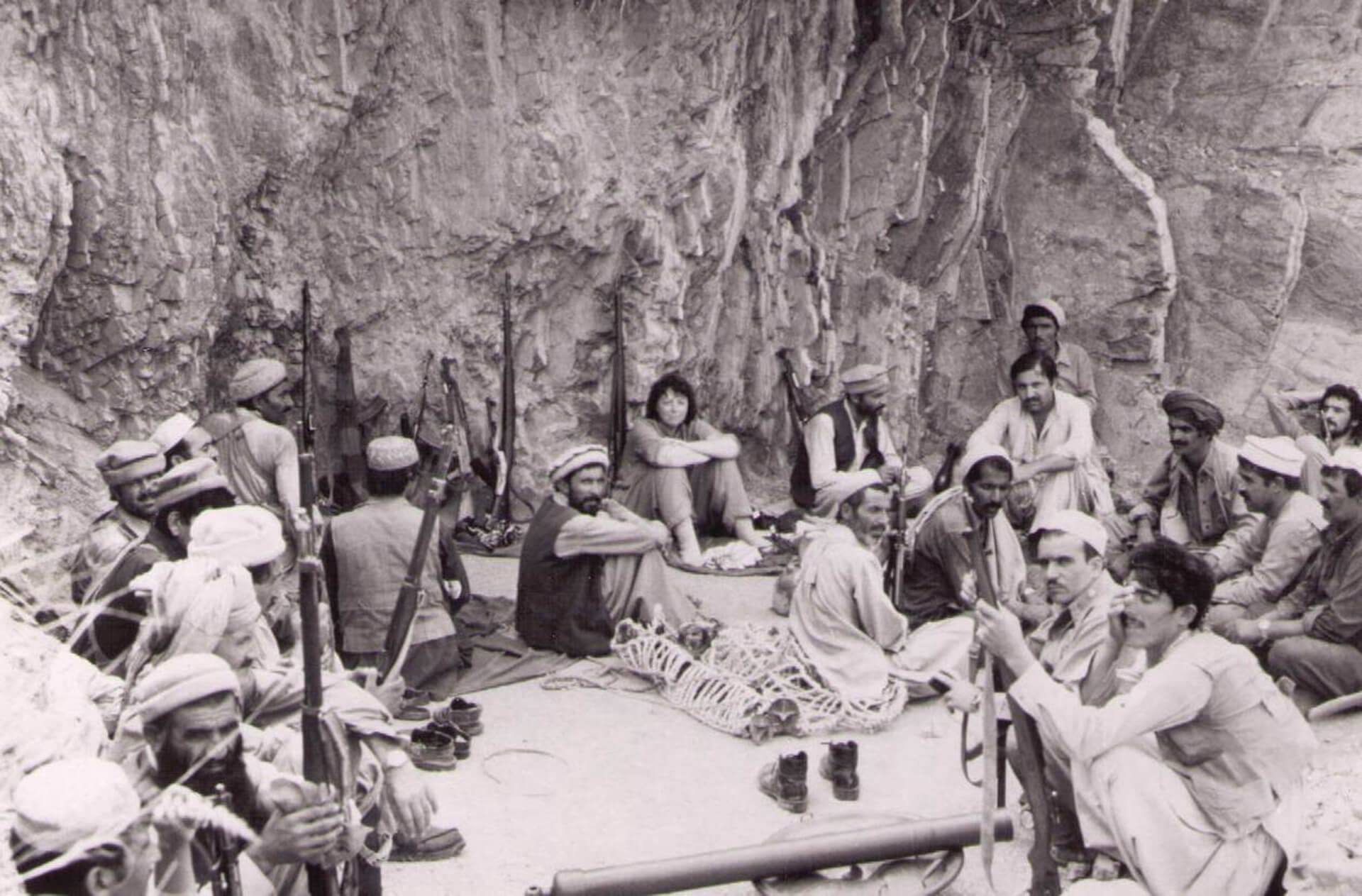 PHOTO: Jan (center) traveling with Afghan mujahideen.