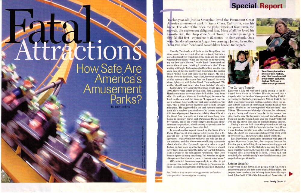 FATAL ATTRACTIONS, AMUSEMENT PARKS — FAMILY CIRCLE MAGAZINE